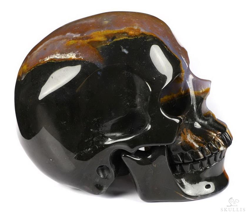 Black Zebra Agate Crystal Skull, Detachable Jaw