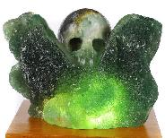 "Original 4.6"" Fluorite Mineral Carved Crystal Skull Sculpture With Light Stand, Crystal Healing"