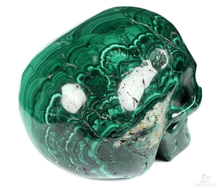 Malachite Crystal Mitchell-Hedges Crystal Skull, Detachable Jaw