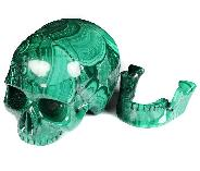 "Amazing 6.3"" Malachite Carved Crystal Mitchell-Hedges Crystal Skull, Detachable Jaw, Crystal Healing"