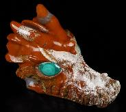 "Huge 5.2"" Red Jasper Carved Crystal Dragon Skull. Malachite Eyes, Crystal Healing"