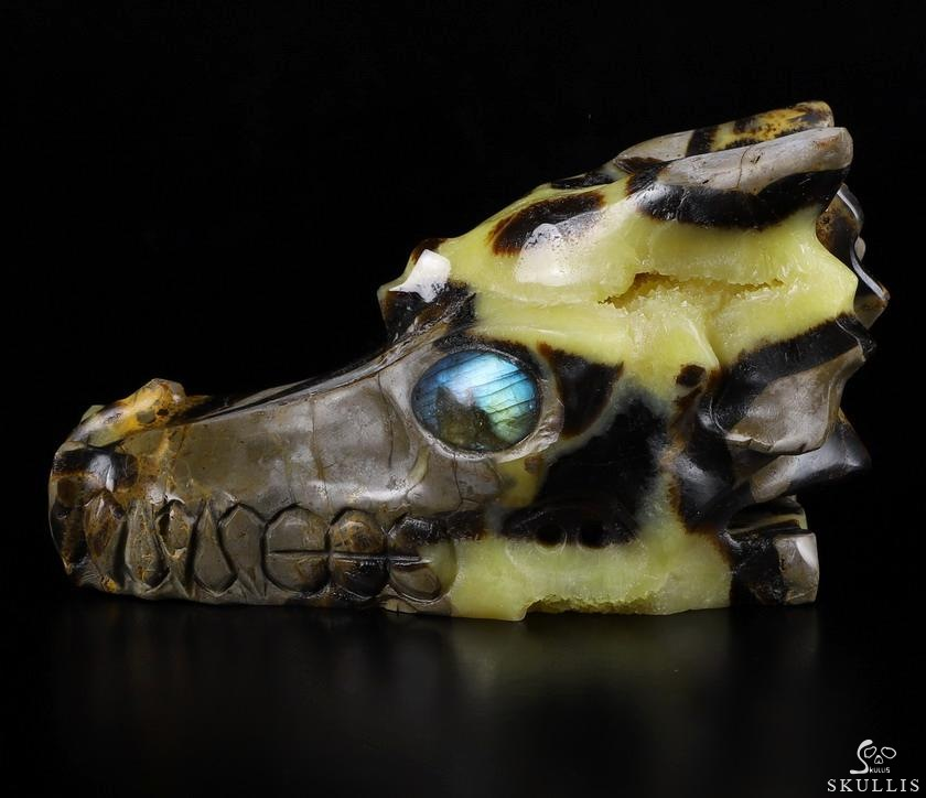 Dragon Septarian Stone Geode Crystal Dragon Skull, Labradorite Eyes