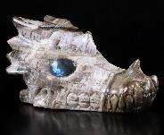 "Nice 5.1"" Petrified Wood Carved Crystal Dragon skull, Labradorite Eyes, Crystal Healing"