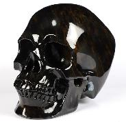 "Nice 5.0"" Mahogany Obsidian Carved Crystal Skull,Super Realistic, Crystal Healing"