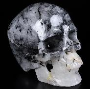 "5.0"" Black Tourmaline Carved Crystal Skull,Super Realistic, Crystal Healing"