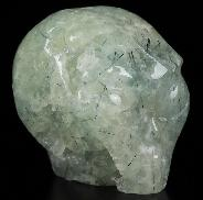 "Gemstone 2.0"" Prehnite Carved Crystal Female Alien SKull, Crystal Healing"
