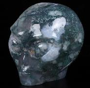 "Nice 2.0"" Green Moss Agate Geode Carved Crystal Female Alien Skull, Crystal Healing"