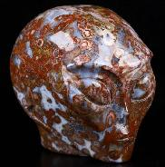 "2.0"" Bug Fossil Agate Carved Crystal Female Alien Skull, Crystal Healing"