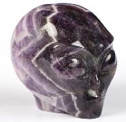 "2.0"" Dream Chevron Amethyst Carved Crystal Female Alien Skull, Crystal Healing"