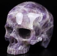 "4.6"" Dream Chevron Amethyst Carved Crystal Skull Without Jaw,Super Realistic, Crystal Healing"