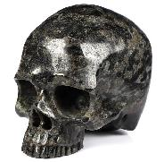 "Huge 4.6"" Russian Arfvedsonite Carved Crystal Skull Without Jaw,Super Realistic, Crystal Healing"