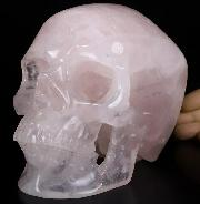 "Lifesized 7.0"" Rose Quartz Carved Crystal Skull,Super Realistic, Crystal Healing"