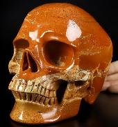 "Lifesized 6.7"" Red Jasper Carved Crystal Skull,Super Realistic, Crystal Healing"