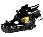 "Huge 5.3"" Black Obsidian Carved Crystal Dragon Skull, Tiger Eye Eyes, Crystal Healing"
