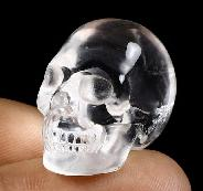 "Top clear 0.9"" Quartz Rock Crystal Carved Crystal Skull, Realistic, Crystal Healing"