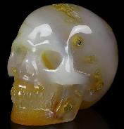 "Nice 2.0"" Carnelian Carved Crystal Skull, Realistic, Crystal Healing"