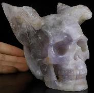 "5.3"" Fluorite Carved Crystal Skull With Wings, Crystal Healing"