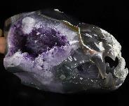 "Giant 8.4"" Agate Amethyst Geode Carved Crystal Wolf Skull Sculpture, Crystal Healing"
