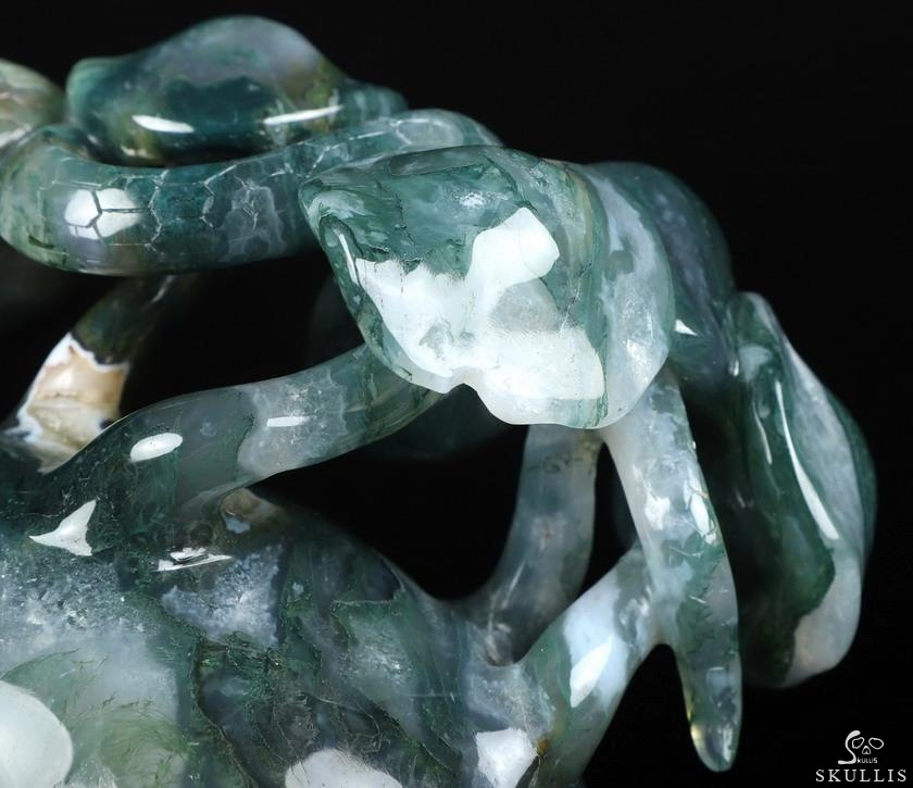 Green Moss Agate Crystal Skull with Snake