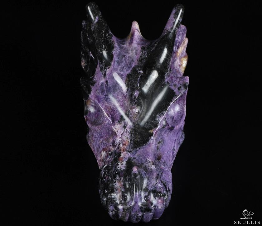 Russian Charoite Crystal Dragon Skull