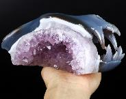 "Giant 8.5"" Agate Amethyst Geode Carved Crystal Skull Wolf Skull Sculpture, Crystal Healing"