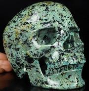 "Lifesized 7.3"" African Turquoise Carved Crystal Skull,Super Realistic, Crystal Healing"
