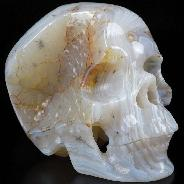 "Geode Huge 5.0"" Gray & White Agate Carved Crystal Skull,Super Realistic, Crystal Healing"