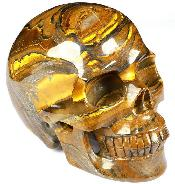 "Huge 5.0"" Tiger Iron Eye Carved Crystal Skull, Realistic, Crystal Healing"
