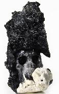 "Mineral Specimen Huge 6.6"" Black Tourmaline Carved Crystal Skull"