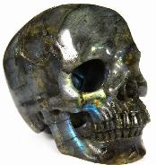 "HUGE 5.0"" Labradorite Carved Crystal Skull, Super Realistic"