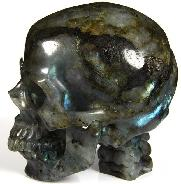 "AMAZING FLASH HUGE 5.0"" Labradorite Carved Crystal Skull with Spine"
