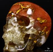 "HUGE 5.1"" Smelted Quartz Carved Crystal Skull, Super Realistic"