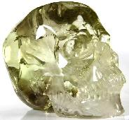 "RAINBOWS HUGE 6.1"" Citrine Carved Crystal Skull, Super Realistic"