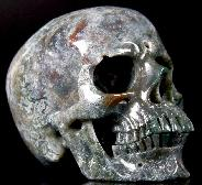 "HUGE 5.1"" Green Moss Agate Carved Crystal Skull, Super Realistic"