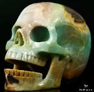 "HUGE 5.1"" Chinese Amazonite Carved Crystal Singing Skull"