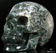 "GEODE HUGE 5.2"" Green Moss Agate Carved Crystal Skull, Realistic"