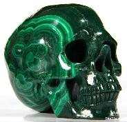 "HUGE 3.7"" Malachite Carved Crystal Skull, Super Realistic"