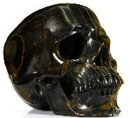 "HUGE 5.1"" Blue & Gold Tiger Eye Carved Crystal Skull, Super Realistic"