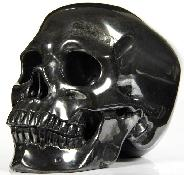 "HUGE 5.2"" Hematite Carved Crystal Skull, Super Realistic"