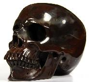 "HUGE 5.0"" Chinese Bloodstone Carved Crystal Skull, Super Realistic"