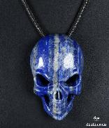 "Gemstone 2.0"" Lapis Lazuli Carved Crystal Skull Pendant with Sterling Silver"