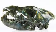 "Giant 7.7"" Labradorite Carved Crystal Wolf Skull"