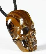 Tiger Iron Eye Carved Crystal Skull Pendant with Sterling Silver