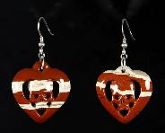 Red Jasper Carved Crystal Skull Earrings with Sterling Silver