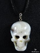Agate Carved Crystal Skull Pendant with Sterling Silver