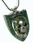 Bloodstone Carved Crystal Skull Pendant with Sterling Silver