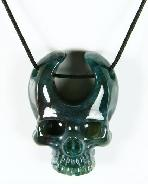 Green Moss Agate Carved Crystal Skull Pendant