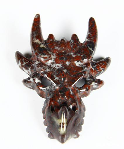 Chinese Bloodstone Crystal Dragon Skull Pendant