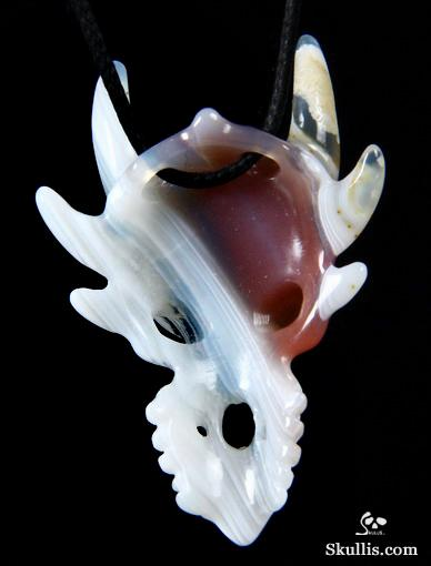 Mozambique Agate Crystal Dragon Skull Pendant