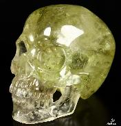 "Rainbows Clear Giant 7.2"" Citrine Carved Crystal Skull, Super Realistic"